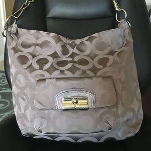 Coach Large Silver Crossbody Shoulder Bag Purse